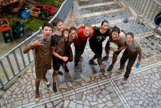 Lovely people coming back from a muddy game of rugby